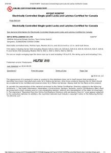 UL certificates of HUNE to prove the quality digital door lock of HUNE.