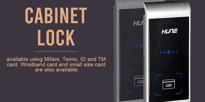 Product banner for cabinet lock of HUNE digital door lock Malaysia.